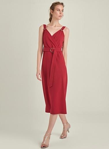 NGSTYLE Toka Detaylı Askılı Elbise Bordo